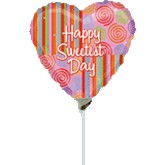 "9"" Airfill Happy Sweetest Day Heart Stripes"