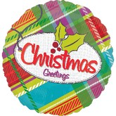 "18"" Plaid Christmas Greeting Balloon"