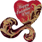 "29"" HVD Gold Damask Valentine SuperShape"
