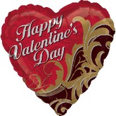 "18"" HVD Gold Damask Mylar Balloon"