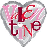 "18"" Playful Valentine Silver Background"