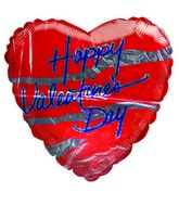 "28"" Happy Valentine&#39s Day Red & Silver Heart Balloons"