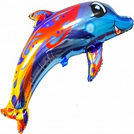 "36"" Multicolor Dolphin Jumbo Balloon"