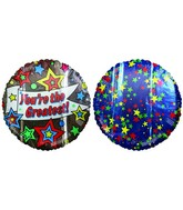 "18"" You&#39re the Greatest Stars Silver Mylar Balloon"