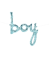 "27"" Airfill Only Boy Script - Pastel Blue Script Word"