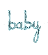 "34"" Airfill Only Baby Script - Pastel Blue Script Word"
