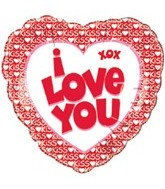 "18"" I Love You Kiss Border Balloon"