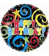 "18"" Happy Birthday Black Swirls"