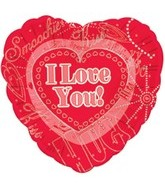 "18"" I Love You Collage Foil Balloon"