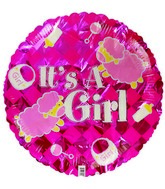 "18"" It&#39s a Girl Sheep Pink Checkered Foil Balloon"