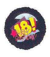 "9"" Happy 18th Bithday Black Balloon"