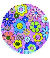 "18"" Colorful Flowers Free Spirit Pink Foil Balloon"