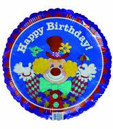 "18"" Happy Birthday Smiley Clown Mylar Balloon"