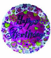 "18"" Pink Happy Birthday Daisies & Hearts"