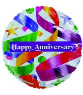 "18"" Happy Anniversary Party Ribbons Foil Balloon"