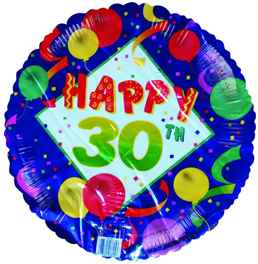 "18"" Happy 30th Birthday Balloons Stremers Blue Border"
