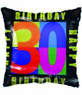"18"" Happy 30 Birthday Black Border"