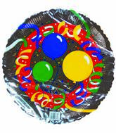 "18"" Birthday Celebration Ballons & Ribbons Silver Border"