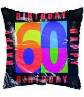 "18"" Happy 60th Birthday Black Border"