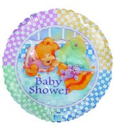 "18"" Baby Shower Sleeping Bear Checkered Border"