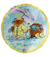 "18"" Bear in raincoat & umbrella Noah's Arc Foil Balloon"