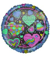 "18"" Love Heart Designs Purple border balloon"