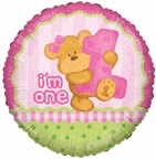 "18"" Bear&#39s First Birthday Girl Balloon"