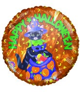 Happy Halloween Cat & Candy Bag Orange Airfill-Only Balloon