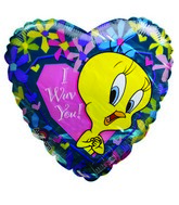 "9"" Airfilll Only Tweety I wuv You Heart shaped balloon"