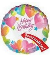 "18"" Birthday Hearts Just Write Personalize"