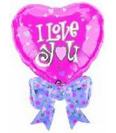 "32"" I Love You Pink Heart Bow P"