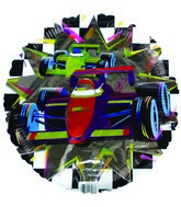 "18"" F1 Racing Car Checkered Mylar Balloon"