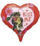 "18"" Kiss Me Frog Heart Balloon"