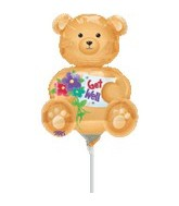 "14"" Airfill Get Well Bear Balloon"