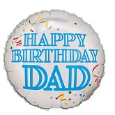 "18"" Silver & White Birthday Confetti Dad"