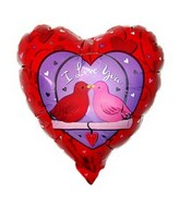 "9"" ILY Love Birds Heart Shaped Airfill-Only Balloon"