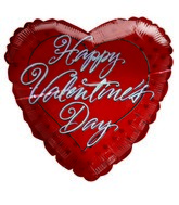"18"" Happy Valentines Day Red Heart Shaped Balloon"