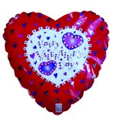 "18"" Happy Valentines Day Hearts Filled Red Balloon"