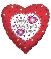 "18"" Happy Valentine&#39s Day Floating Hearts Mylar Balloon"