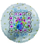 "18"" Thinking of You Flower Vase Mylar Balloon"