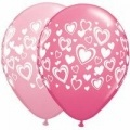 "11"" Double Hearts Wrap Pink Latex (100 Count)"
