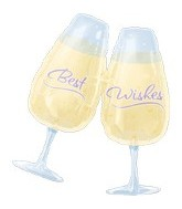 "30"" Best Wishes Toasting Glass Mylar balloon"