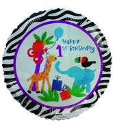 "18"" Happy 1st Birthday Safari Animals Themed Balloon"