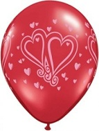 "11"" Joined Hearts Wrap Ruby Red Balloons"