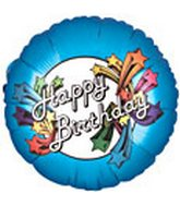 "18"" Happy Birthday Star Burst Blue"