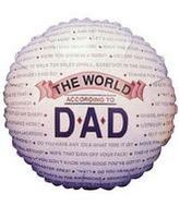 "4"" Airfill Balloon WORLD ACCORD TO DAD"