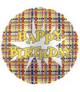 "18"" Happy Birthday Plaid Burst"