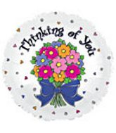 "18"" White Thinking of You Flower Bunch"