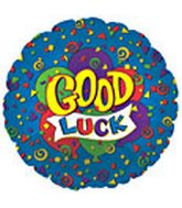"17"" Good Luck Blue Many Balloons Packaged"
