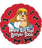 "17"" Feel Better Soon Bull Dog Foil Balloon"